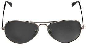 David-Martin Silver  Black Aviator Sunglass (UV Protected) (Medium Size)