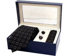INDIE KINGZLAY Designer Black Colour Premium Quality Party Wear Designer Jacquard Micro Silk Tie, Pocket Square and Cuff