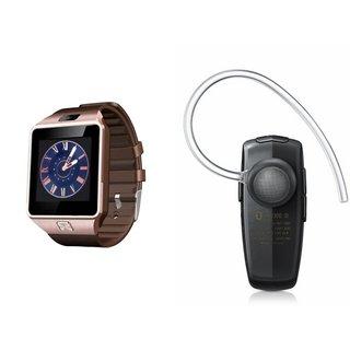Mirza DZ09 Smartwatch and HM1100 Bluetooth Headphone for VIVO x6s plus(DZ09 Smart Watch With 4G Sim Card, Memory Card HM1100 Bluetooth Headphone)