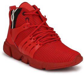 Shoeson Men's Red Lace-up Outdoor Sport Running Shoes