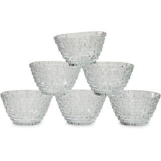 Somil Designer Transparent Serving Glass Bowl Set Of Six With Self Designe DN05