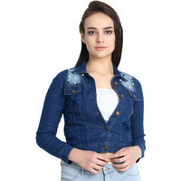 BuyNewTrend Stone Wash Denim Light Blue Jacket For Wome