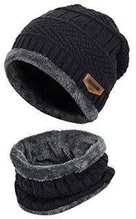 48df98bef4ce Love Byte Pure Woolen Knitted Cap With Muffler/ Beanie - Black - Unisex -  Winter Cap