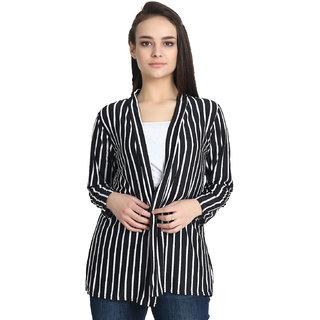 BuyNewTrend Black White Hosiery Lycra Striped Short Longline Shrug For Women