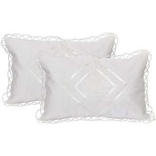HomeStore-YEP Fancy kundle Qulited Embroidary Work Pillow Covers (Set of 2 Piece) White Color, Cotton