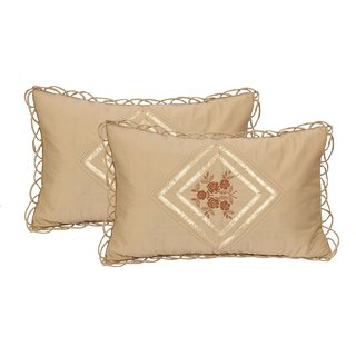 HomeStore-YEP Fancy kundle Qulited Embroidary Work Pillow Covers (Set of 2 Piece) Brown Color, Cotton