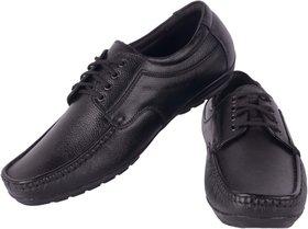 Goosebird Black Leather Formal Lace-up Shoes For Men