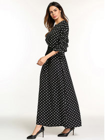 Code Yellow Women's Black Polka Dot Print Flounce Sleeve Tie Waist Longline Dress