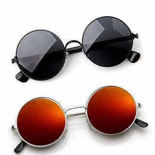 Derry Full Rim Metal Combo-2 Mirrored Round Sunglasses