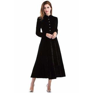Code Yellow Women's Black Plain Buttoned Velvet Dress