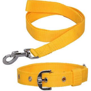 Collars and Leashes Combo Pack For Dog (Large)- Yellow