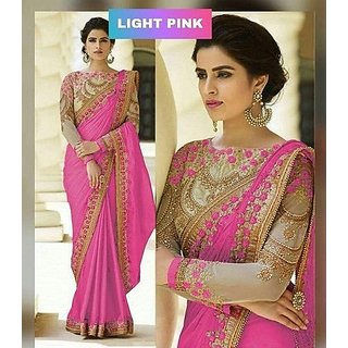 Bhavna Creation Pink Silk Embroidered Wedding Sarees With Blouse