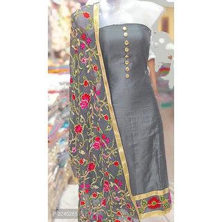 Stylezone embroiderd JAM SILK Dress Material-tm6077grey
