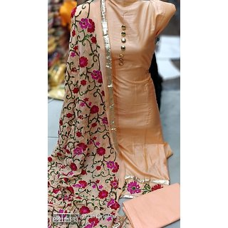 Stylezone embroiderd JAM SILK Dress Material-tm6077peach