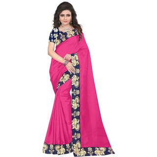 Florence Pink Bhagalpuri Silk Solid Printed Lace Work Saree with Blouse