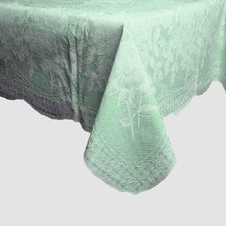 VAA Clear Vinyl Embossed Table Cover Green Color- 4 Seater
