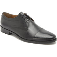 Hats Off Accessories Genuine Leather Black Derby Shoes with Textured Vamp