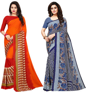 8504ecf538f Swaron Orange and Blue Georgette Printed Saree Combo (Pack of 2)