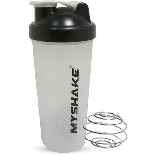 Myshake Classic Protein Plastic Shaker Bottle 600ml (Black)