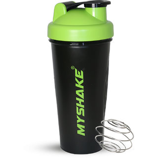 Myshake Classic Protein Shaker Bottle for Sports and Fitness 600 ml (Green)