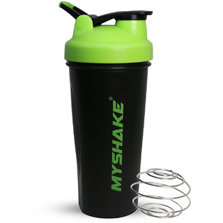 Myshake Classic Protein Shaker Bottle for Sports and Fitness with Silicon Flip 600 ml (Green)