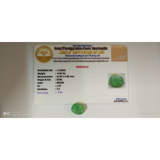 4.94 Cts Ratti 100 Natural Panna,Green Emerald Stone Gemstone With Lab Certified