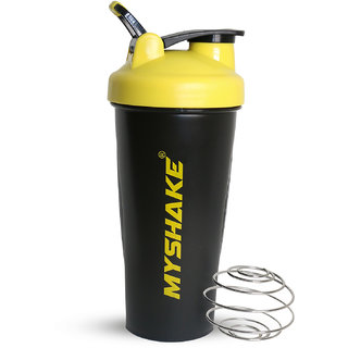 Myshake Classic Protein Shaker Bottle for Sports and Fitness with Silicon Flip 600 ml (Yellow)