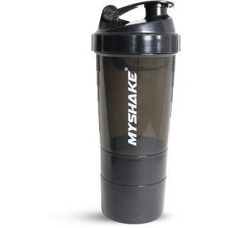 Myshake Spider Protein Shaker Bottle for gym - 600ML (Black)
