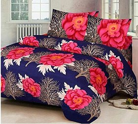 3D Printed Poly Cotton Double Bedsheet with 2 Pillow covers