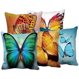 Digital Printed Jute Cushion Cover Set of 5 Pc (16 x 16 Inches)