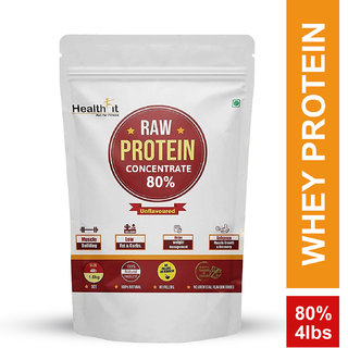 Healthfit Raw Whey Protein Concentrate Powder 80 - 4lbs 1814g - 60 Servings (Unflavoured)