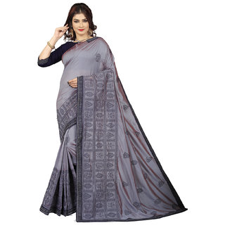 6744f33080a40 Buy Amrutam Fab Designer Embroidered Grey Silk Saree Online - Get 70 ...