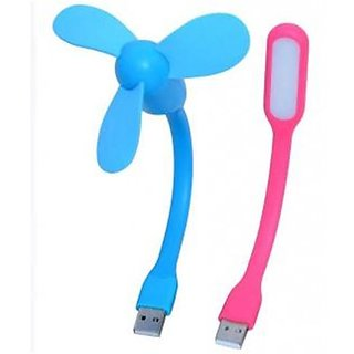 USB Fan + LED Light Lamp Combo Pack Flexible For Laptop (Assorted colors)