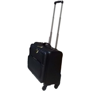 Leather 4 wheel Trolley Cabin Bag ( Black ) Handcrafted