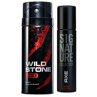 Axe Signature And Wild Stone Deo Deodorants Body Spray For Men Pack of 2 Pcs