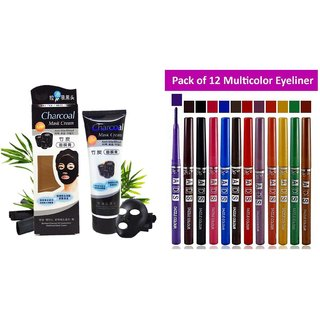 charcoal face mask 130 g with ads multicolor eyeliner set of 12