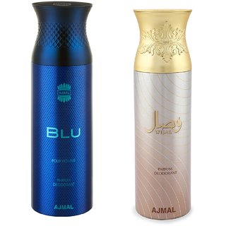 Ajmal Blu Homme  Wisal Deodorant Spray - For Men  Women (200 ml, Pack of 2)