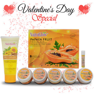Nutriglow Glowing Papaya Fruit Facial Kit - Wild Turmeric Face Wash/Face Care Treatment Cleanser Skin Cell Repair