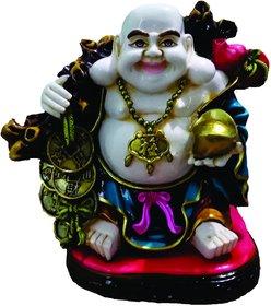 SAI SARTHAK ENTERPRISE POLY-RESIN MADE LAUGHING BUDDHA (HAPPYMAN) MULTI-COLOUR HAND-PAINTING TABLE-TOP