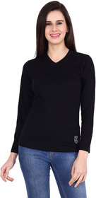 SBO Fashion Black Color V Neck Trendy Women's T-Shirt 5252Black