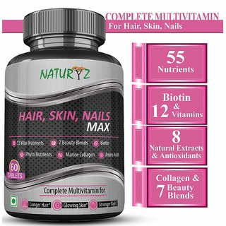 Naturyz Biotin Hair, Skin  Nails Complete Multivitamin With 53 Nutrients - 60 Tablets