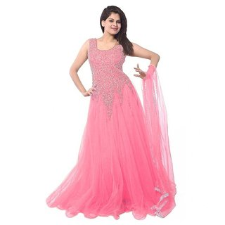 Florence Women's Light Pink Net Party Wear Gown