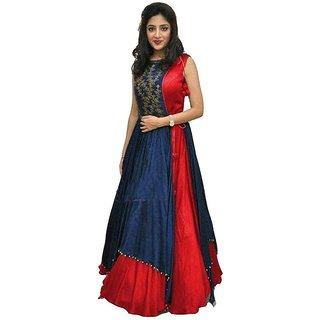 Florence Women's Red Bangalore Silk Anarkali Gown