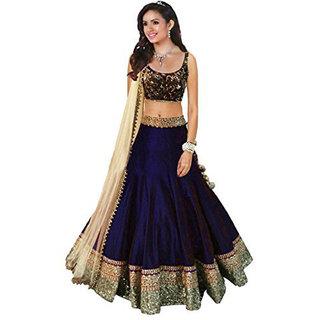 Florence Women's Blue Bangalore Silk Lehenga Choli
