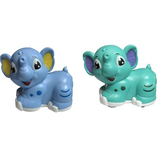 Emob Pack of 2 Push and Go Cute Elephant Cartoon Toy with Super Friction Powered Wheel for Kids (Multicolor)