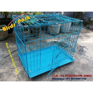 Dog Cage Blue 24 inch Good for Small Dog Puppy, Cat, Rabbit, Poultry, Turkey  Guinea Pigs