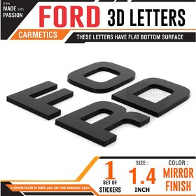 CarMetics FORD 3d letters stickers decals logo emblem bonnet letters FORD accessories 3d stickers for Ford Endeavour wit