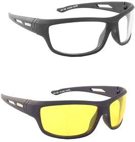 Ivy Vacker Yellow & Black Night Vision Free-Size Full Rim Wrap-around Polycarbonate Unisex Sunglasses - Pack Of 2