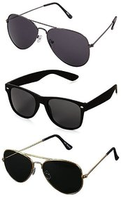 Ivy Vacker UV Protected Unisex Black Aviator and Wayfarer Sunglasses Combo of 3