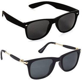 Ivy Vacker Combo of 2 Black Unisex UV Protection Wayfarer Sunglasses